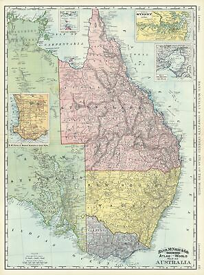 1892 Rand McNally Map of Eastern Australia