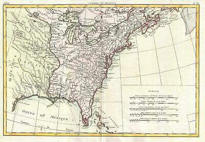 1778 Bonne Map of Louisiana and the British Colonies in North America