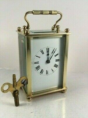 Antique french brass and 5-glass carriage clock & KEY. Restored Sept.2019 G.W.O.