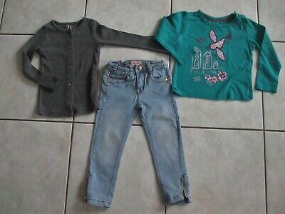 Adorable Ensemble Jeans Lisa Rose + Tee Shirt Vert+ Gilet Gris Orchestra 2/3 Ans