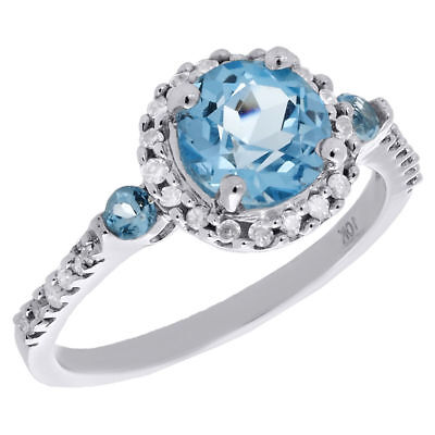 10K White Gold Diamond & Created Blue Topaz Ladies Engagement Ring 0.20 Ct.