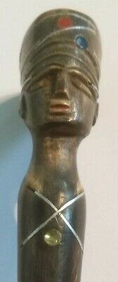 Plaited Leather Riding Crop with Carved Head of Egyptian Pharaoh ( Nefertiti?)
