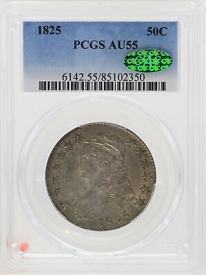1825 Capped Bust Half Dollar PCGS AU55 CAC Silver 50c Coin O-106 - JD376