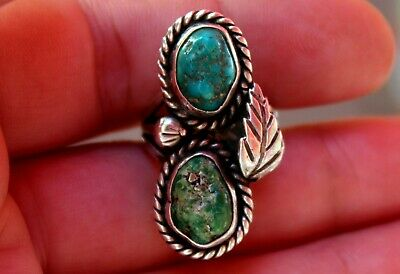 Old Pawn Navajo Sterling Silver & Old Mined Green & Blue Turquoise Stones Ring
