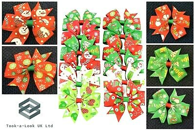 """Christmas Hair Bows/Clips 3"""" With Clip- Premium Quality  12 Different Patterns"""