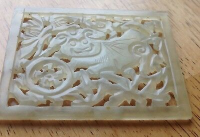 Antique Chinese Serpentine Carved Plaque Pendant Boar Carving