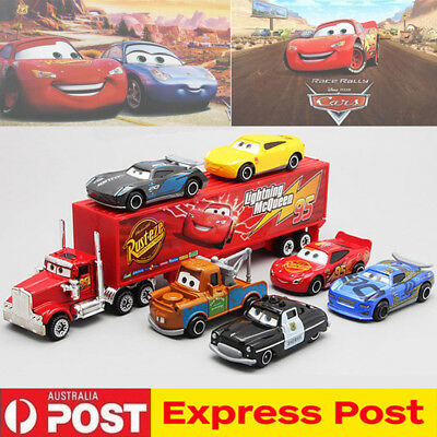 7Pcs/Set Cars 2 Lightning McQueen Racer Car&Mack Truck Collection Toy XMAS Gift