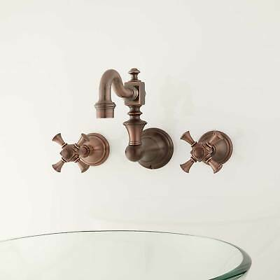 Vintage Wall Mount Bathroom Faucet with Cross Handles No Overflow Oil Rubbed Bro