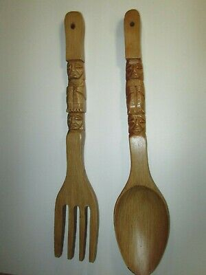 Vintage Large Wood Fork And Spoon Tiki Wall Decor 22.25""