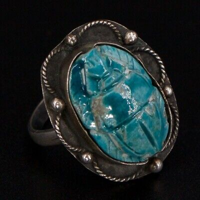 VTG Sterling Silver Egyptian Carved Turquoise Scarab Beetle Ring Size 6.5 - 4.5g
