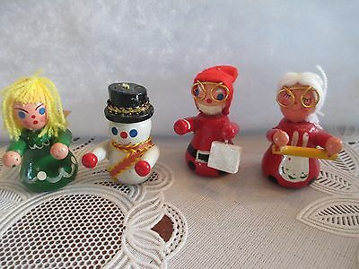 Vtg. Xmas Miniature Mr/Mrs Claus--Angel--Snowman-Decorations/Dollhouse/Ornament