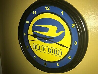 Blue Bird School Bus Driver Station Garage Advertising Man Cave Wall Clock Sign