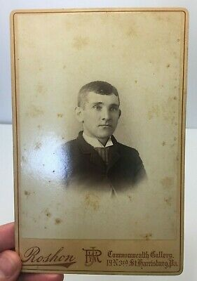 1880's Cabinet Card Photo of Man Portrait by J.W. Roshon, Harrisburg, PA  *A3