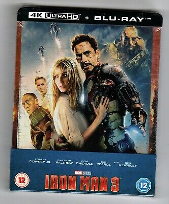 Iron Man 3 (4K UHD + Blu-ray Steelbook) NEW / SEALED - ZAVVI UK