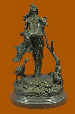 Signed Moreau Native American Indian With Deer Bronze Sculpture Statue Lost Wax