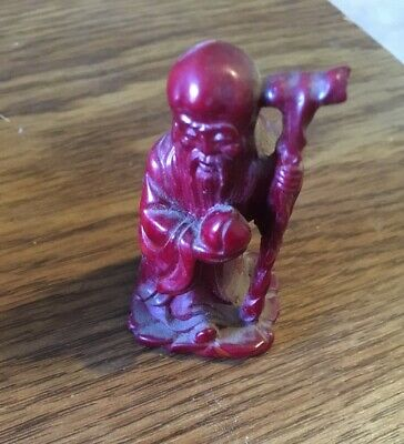 """Vintage Asian Wise Man Figurine 2-1/4"""" Red Resin, Taiwan"""