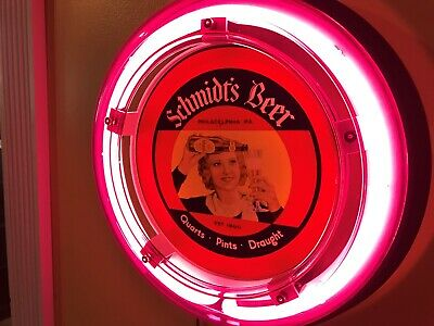 ***Schmidt's Philadelphia Girl Beer Bar Advertising Man Cave Neon Wall Sign