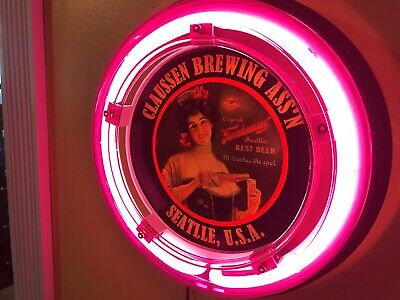 ***Claussen Seattle Beer Bar Advertising Man Cave Neon Wall Sign