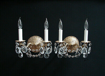 Vintage Pair French Brass Crystals Wall SCONCES - 2 lights each