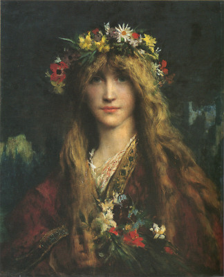 """oil painting handpainted on canvas """"a girl with flowers""""@N12395"""