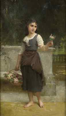 """perfect oil painting handpainted on canvas""""a beautiful girl and  flowers""""@bgr074"""