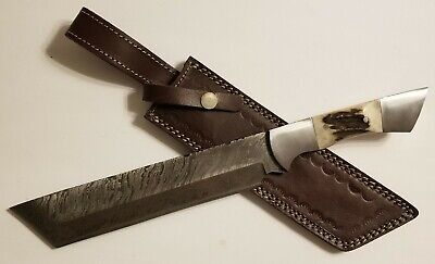 "Handmade 15"" Damascus Steel Hunting Knife with ""Stag"" Handle & Leather Sheath"