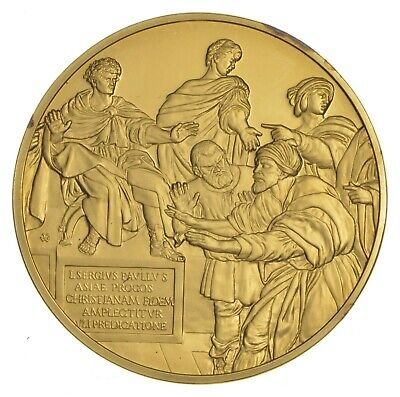 24K Gold Gild The Art Of Raphael .925 Sterling Silver 31.3 Grams Round *676