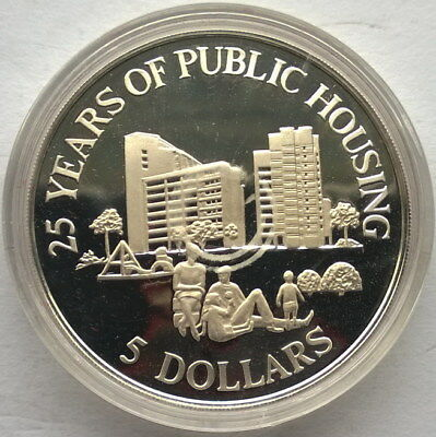 Singapore 1985 Public Housing 5 Dollars Silver Coin,Proof
