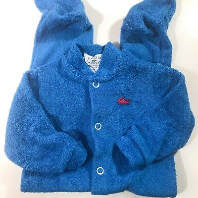 Lacoste Alligator Snap Button Baby Sleeper Size 3 mo Vintage Blue USA made
