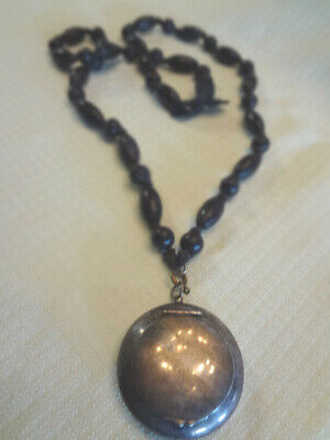 Fabulous Antique Silver Tiny Compact On Gutta Percha Beaded Chain