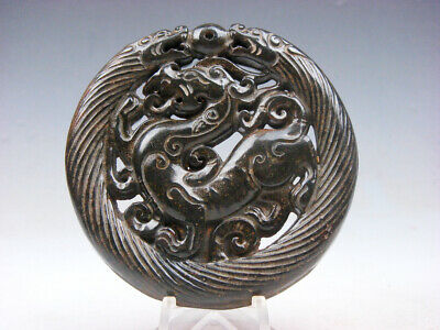 Old Nephrite Jade Stone 2 Sides Carved LARGE Pendant 2 Dragons Pi-Xiu #05181910