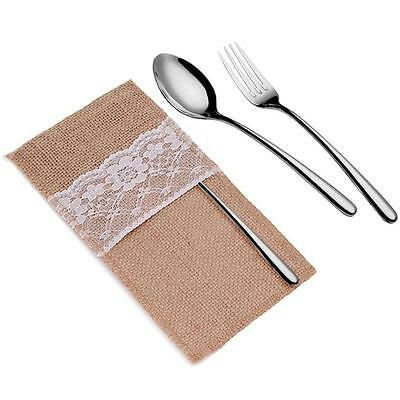 Rustic Wedding Decoration Burlap Lace Fork Spoon Holder Table Runner Cover LD