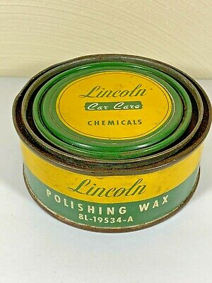 Vintage LINCOLN CAR CARE POLISHING WAX Can Lincoln Mercury Ford Motor Company