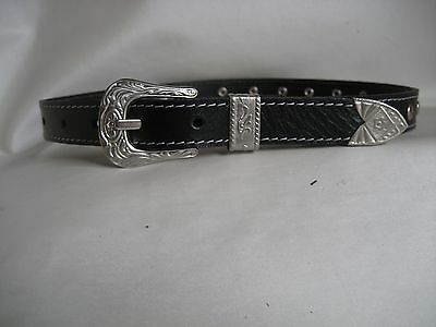 Genuine Black Silver Studded Leather Kids/Childrens Belt