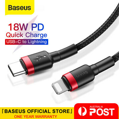 Baseus 18W PD Cable USB C to Lightning Charging Cable for iPhone 11 Pro XS Max