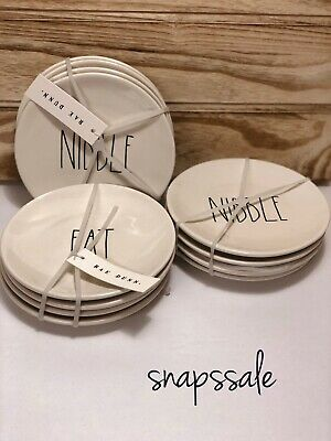"NEW Rae Dunn EAT,YUM NIBBLE ""YOU CHOOSE"" Appetizer Dessert Salad 6"" Plates set 4"