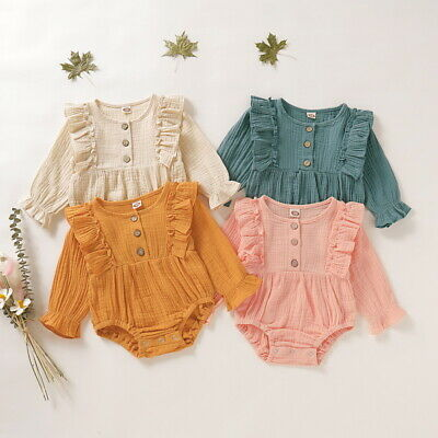 Baby Girls Solid Long Sleeve Rompers Flouncing Buttons Cotton Bodysuit Playsuit