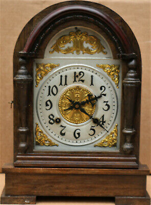 Old Large Working Wooden Cased Ansonia Mantel Clock With Domed Top To Tidy Up
