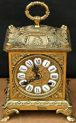 VERY ORNATE BRASS FRANZ HERMLE CARRIAGE OR BRACKET TYPE CLOCK to repair