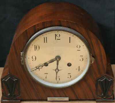 Nice Looking Wooden Cased Art Deco Type Striking Mantel Clock