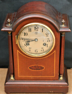 Splendid Old Junghans Inlaid Wooden Cased Striking Bracket Or Mantel Clock