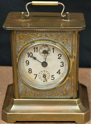 Old Brass Cased Junghans Carriage Type Clock With Alarm To Tidy Up