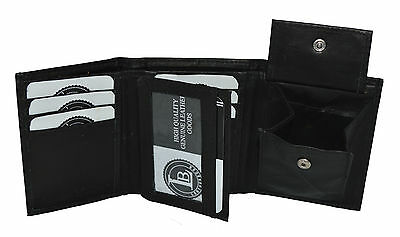 Kids Boys Slim Compact Flap Id And Coin Pocket Trifold Wallet Black