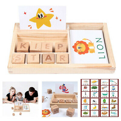 3-in-1 Spelling Learning Game Wooden Spelling Words Enlightenment Baby Gift 2019
