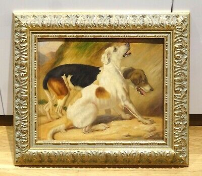 19th Century English School Hunting Dogs Hounds Woodland Portrait Antique Oil