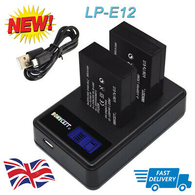 2x 7.2V LP-E12 battery + LCD Dual Charger for Canon EOS 100D M2 Digital Camera