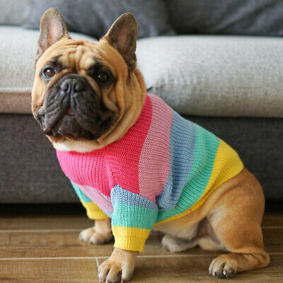 Pet Clothes Knitted Puppy Dog Jumper Rainbow Sweater For Small Dogs Coat Cat Hot