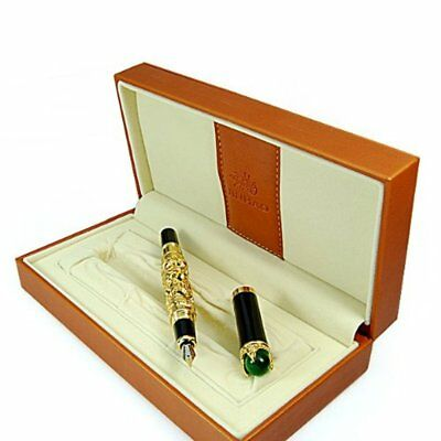 Golden Chinese Ming Dynasty Emperor Style Dragon Play Jade Ball Fountain Pen