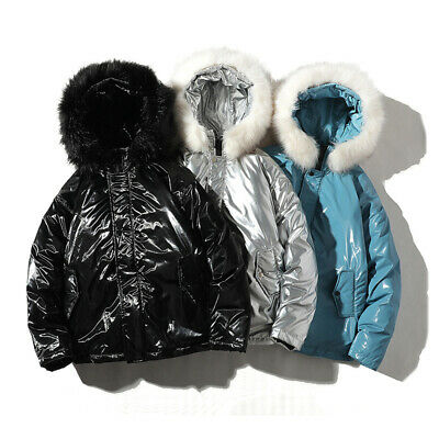 Mens Down Feel Fur Hooded Quilted Jacket Faux Leather PU Wet Look Parka Warm