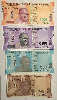 India 10 50 100 200  Rupees (4 Pcs Set), 2017-2018 P-111-114 New Gandhi Unc/c